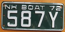 New Hampshire 1972 BOAT License Plate # 587Y