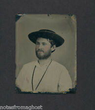 19th C. WESTERN MINER with HAT & TINTED CHEEKS~TINTYPE ~ ORIGINAL PHOTO PORTRAIT