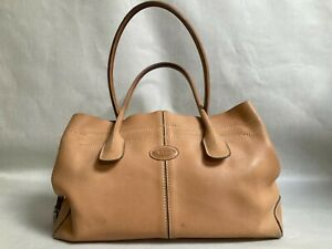 Tods D Bag Medium Leather Hand Bag Top Handle Smooth Leather Silver Hardware