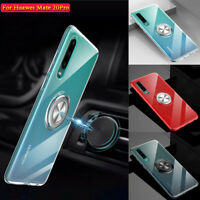 For Huawei P20 Pro P30 Luxury Clear TPU Case Skin Cover With Ring Stand Holder
