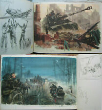 German 1944 Sketch Book War art Hans Liska TIGER Panzer Wehrmacht Luftwaffe TOP