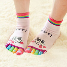 Lady Woman Girl Smile Five Fingers Trainer Toe Ankle Sport Socks Colors Hot OV