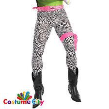 Mens Zebra Print Spandex Trousers 80s 1980s Glam Rock Fancy Dress Accessory