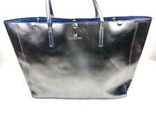 Swarovski Brand Faux Leather Gunmetal Metallic Large Tote Bag