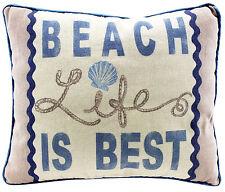 BEACH LIFE IS BEST - Decorative Throw Pillow Nautical Beach Coastal Decor