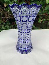 "Vintage Bohemia Queen Lace Cobalt Blue 24% Lead Crystal Vase 10"" Nib"