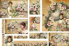 Carta DECOUPAGE Look Vintage Tempo Orologio Clock ROSE Romance