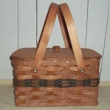Handcrafted Lunch Box Basket with Lid and Swivel Handles