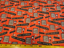 Lamp Post Train Signs Toss Fabric Rail King RED Cotton Fabric BTY VIP Fabric