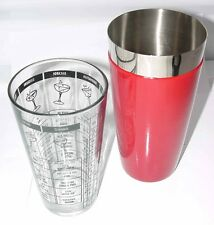 COCKTAIL SHAKER & MIXING GLASS w/Recipes Flair Bar Stainless Steel Red Vinyl