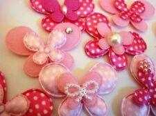 80 Pink & Fuchsia Mix Satin/Felt Butterfly Applique/polka dot/embellishment H291