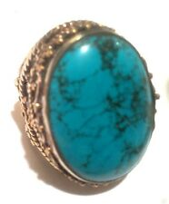 Nepal Tibet Silver Ring with Large Cabachon Turquoise Size 8 USA SELLER