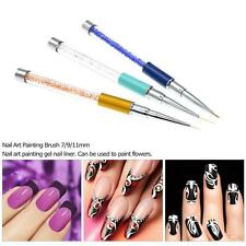3pcs Nail Art Brush UV Gel Painting Crystal Acrylic Nail Art Liner Pen N8O6