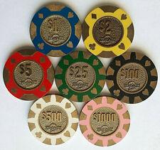 "$1 thru $1000 Viejas Valley ""Brass Slug Core"" Set of 7 - California Casino Chips"