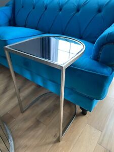 Large Mirrored Glass Side Sofa End Table Silver Furniture Interiors - SECONDS