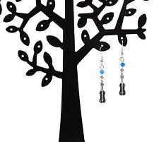 NEW blue bead violin drop earrings ear wire hook inc free white lace pouch