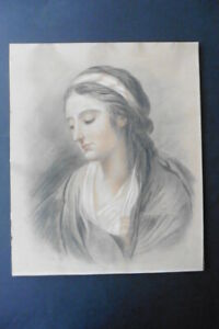 DUTCH SCHOOL 19thC - NEOCLASSICAL PORTRAIT YOUNG WOMAN - CHARCOAL-RED CHALK