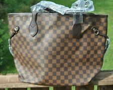 Brown Checkered Tote Bag Shoulder Purse with Small Pouch Vegan Leather