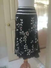 NWOT Temperley London size 4 silk full skirt with silver leather appliqués