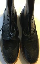 New 1901 WINGTIP Brogue Oxford Black Hi-Cut Lace 100% Leather Shoes 15 Classic