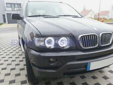 FARI ANTERIORI NERI BMW X5  E53 XENON D2S ANGEL EYES LED DAL 5/2000 A 11/2003