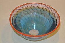 Kosta Boda Crystal Flare Bowl Blue Red rim Swirl Signd & numbered Kjell Engman?