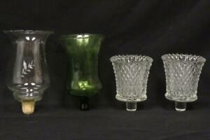 4 Unmatched Glass Votive Wall Sconce Candle Holder Globes With Pegs