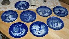 Vintage Royal Copenhagen Denmark Blue Collector 8 1970's + Plate Set Wall Art
