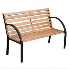 2 Seater Outdoor Wooden Garden Bench Cast Iron Slatted Legs Park Seat Furniture