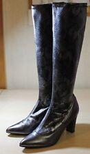 HEINE wadenhohe Snakeskin Leder High Heels Stiefel, Gr. 39, NEU & OVP