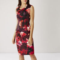 New COAST Red 8 10 CHOPTA SHAE Floral Stretch Satin Cocktail Party Pencil Dress
