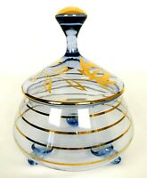 Vintage Glass Candy Dish Footed Vanity Jar Lid Tinted Blue Gold Trim Mid Century
