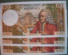 3 billets 10 francs Voltaire 1965 Etat SPL à suivre