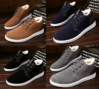 Mens Winter cotton Thicken Fleece Flats Warm Shoes Casual Lace Up Ankle Boots