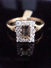 EDWARDIAN STYLE 18CT GOLD ON SILVER TOPAZ CZ RING