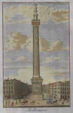 THE MONUMENT - Antique Hand-Colored Engraving Print by WILLIAM HENRY TOMS -1780