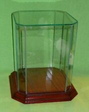 Glass Amp Wood Cut Corners Octagonal Table Top Glass Display Case And Base 8 58