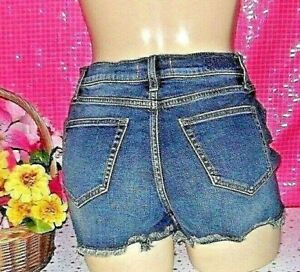 PINK Victoria's Secret Cut Off HIGH WAIST SHORTS Cotton Denim Blue Jean New+Tag