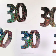 30th Birthday Anniversary Black Holographic Iridescent Confetti Garland N. 30