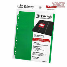 Ultimate Guard 18-Pocket Side-Loading Trading Card Pages - GREEN
