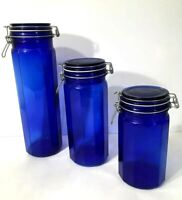 Collectible Lt.Cobalt Blue Glass Apothecary Jar/Bottle w/Wired Lid Set of 3