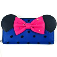 Disney Parks Loungefly Minnie Mouse Zip Around Faux Leather Rock The Dots Wallet