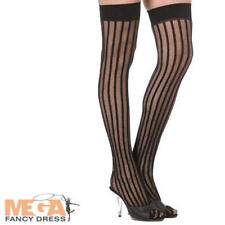 Thigh-high Calze Nero Righe Verticali Burlesque Moulin Rouge Costume