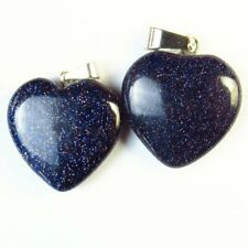 2Pcs Blue Sand Stone Heart Pendant Bead 21x20x6mm L13890