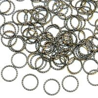M7246 Antiqued Silver 8mm Twisted Round Jumpring Plated Brass 20gauge Wire 100pc