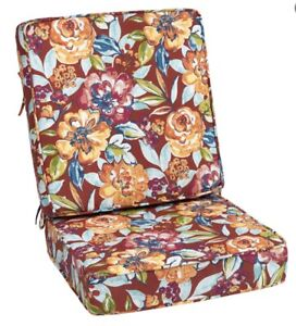 2pc Outdoor Seat Cushion Floral Red Calypso Pattern m12
