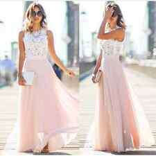 Women Fashion Cocktail Party Evening Maxi Dress Chiffon Summer Beach Lace Gown M