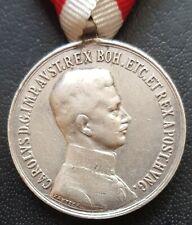 ✚8473✚ Austro-Hungarian WW1 Bravery Medal SILVER IV. KARL POST 1916 FORTITUDINI