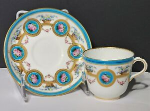 Minton Porcelain Cup & Saucer w Enamel Turquoise Pink Roses & Encrusted Gold