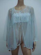 USA Made Nancy King Lingerie Baby Doll Top & Jacket Pajamas Large Blue #438L